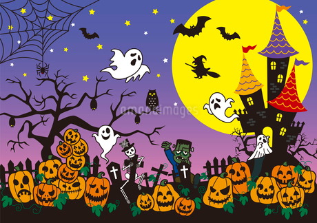 ハロウィン・かぼちゃ・おばけのイラスト素材 [FYI02980642]