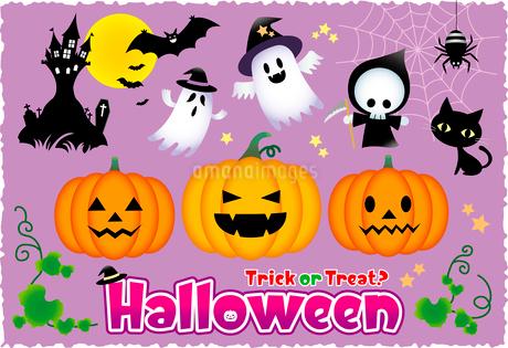 ハロウィン・かぼちゃ・おばけのイラスト素材 [FYI02980643]