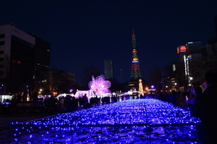 札幌市 大通公園、イルミネーションの風景 の写真素材 [FYI02980689]