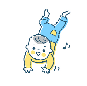 ハイハイする赤ちゃん1 ブルーのイラスト素材 [FYI02980819]