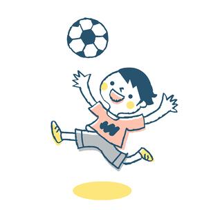 サッカーをする男の子 ピンクのイラスト素材 [FYI02980833]