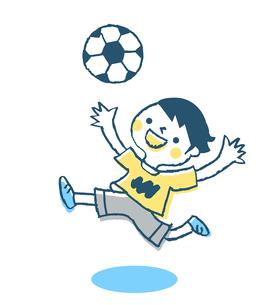 サッカーをする男の子 ブルーのイラスト素材 [FYI02980834]