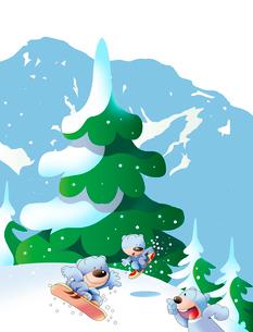 雪山でスノーボードで遊ぶ熊のイラスト素材 [FYI02980877]