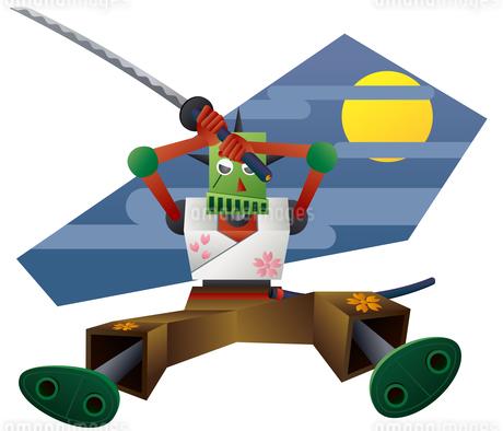 日本刀で斬りかかる侍ロボットのイラスト素材 [FYI02980905]