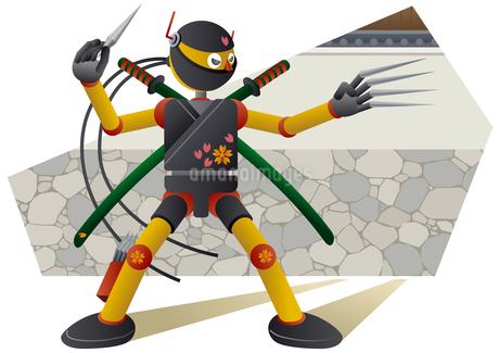 戦う忍者ロボットのイラスト素材 [FYI02980913]
