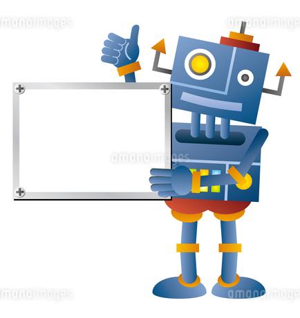ホワイトボードを持つ青色ロボットのイラスト素材 [FYI02980915]