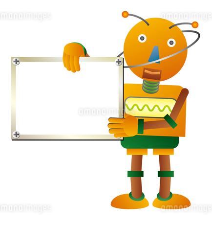 ホワイトボードを持つオレンジ色ロボットのイラスト素材 [FYI02980917]