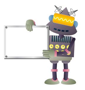 ホワイトボードを持つ灰色ロボットのイラスト素材 [FYI02980923]