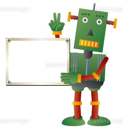 ホワイトボードを持つ緑色ロボットのイラスト素材 [FYI02980924]