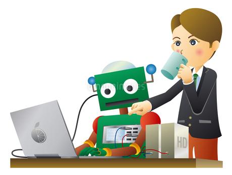 ロボットと人間が働く未来のオフィスのイラスト素材 [FYI02981193]