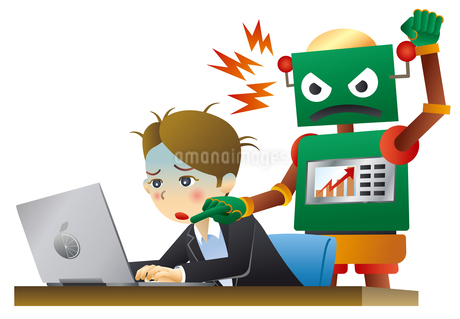 ロボットと人間が働く未来のオフィスのイラスト素材 [FYI02981194]