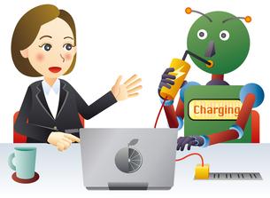 ロボットと人間が働く未来のオフィスのイラスト素材 [FYI02981195]