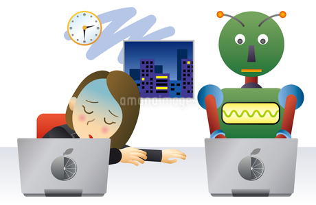 ロボットと人間が働く未来のオフィスのイラスト素材 [FYI02981196]