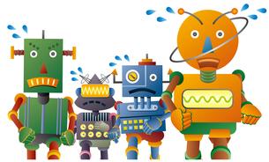 マラソンをする4体のロボットのイラスト素材 [FYI02981201]