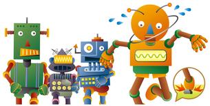 ジョギングするロボット達。石につまずいたオレンジロボット。のイラスト素材 [FYI02981202]