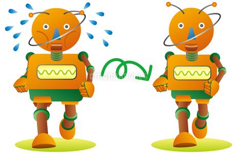 ジョギングで減量するオレンジロボットのイラスト素材 [FYI02981203]