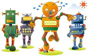 ジョギングするロボット達。石につまずいたオレンジロボット。のイラスト素材 [FYI02981204]