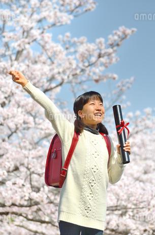 青空で卒業証書を持って笑う小学生の女の子(桜、ランドセル)の写真素材 [FYI02981242]