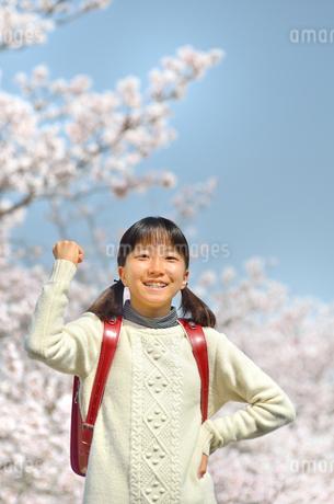 青空で笑う小学生の女の子(桜、ランドセル)の写真素材 [FYI02981246]