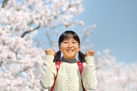 青空で笑う小学生の女の子(桜、ランドセル)の写真素材 [FYI02981247]