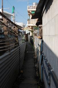 南国沖縄の路地裏の狭い一本道の写真素材 [FYI02981842]