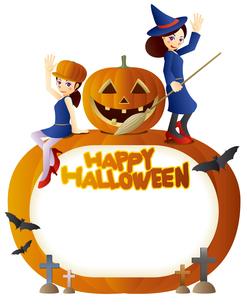 可愛い魔女達とハロウィンかぼちゃのメッセージボードのイラスト素材 [FYI02981916]