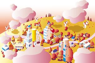 秋の背景、色づく街並みのイラスト素材 [FYI02982158]