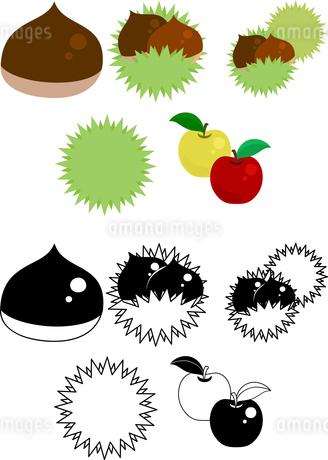 栗とりんごと梨の可愛いアイコンのイラスト素材 [FYI02982355]