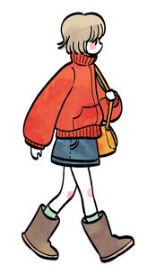 歩く女の子のイラスト素材 [FYI02982641]