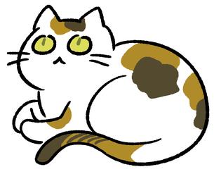 香箱座りの三毛猫のイラストのイラスト素材 [FYI02982643]