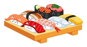 ねこ寿司一人前のイラストのイラスト素材 [FYI02982650]