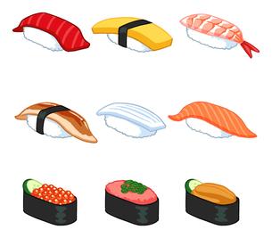 9種類の寿司のイラストのイラスト素材 [FYI02982652]