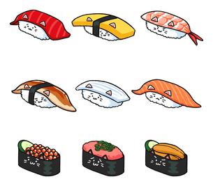 いろいろな寿司ねこのイラストのイラスト素材 [FYI02982653]