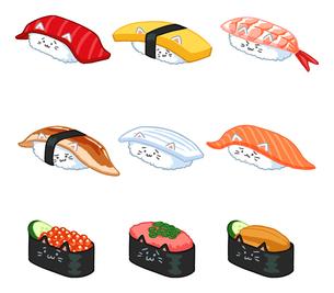 いろいろな寿司ねこのイラストのイラスト素材 [FYI02982654]