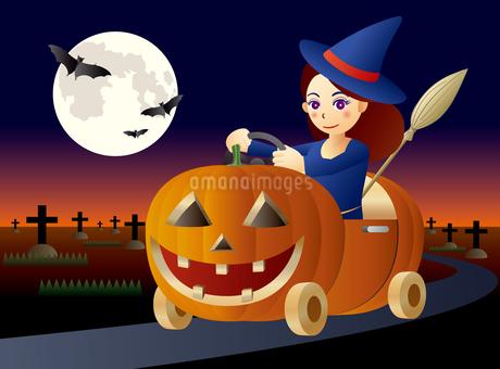 月夜に、ハロウィンスタイルのカボチャカーを運転する魔女のイラスト素材 [FYI02982875]