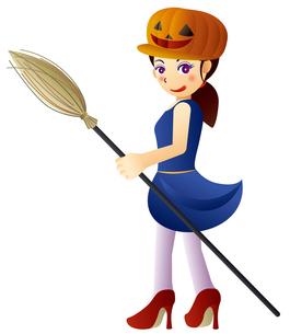 ハロウィンの帽子を被った、可愛い魔女の女の子のイラスト素材 [FYI02982925]