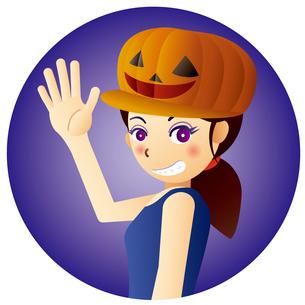 ハロウィンの帽子を被った、可愛い魔女の女の子のイラスト素材 [FYI02982926]