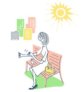 日焼け止めを塗る女性3のイラスト素材 [FYI02983021]