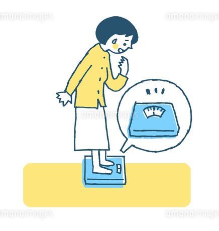 体重計に乗る女性 ブルーのイラスト素材 [FYI02983027]