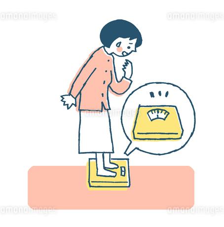体重計に乗る女性 ピンクのイラスト素材 [FYI02983028]