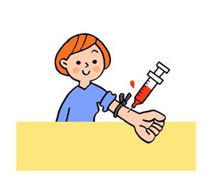 採血をする女性のイラスト素材 [FYI02983037]