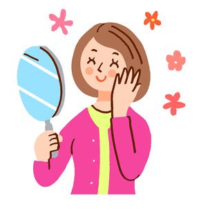 鏡を見て微笑む女性のイラスト素材 [FYI02983040]
