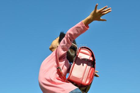 青空で手を広げる小学生の女の子(ランドセル)の写真素材 [FYI02983156]