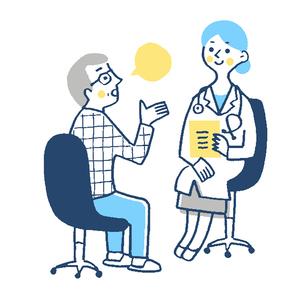 患者と女医 診察 ブルーのイラスト素材 [FYI02983373]