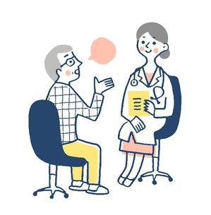 患者と女医 診察 ピンクのイラスト素材 [FYI02983374]