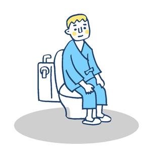 トイレ 患者 ブルーのイラスト素材 [FYI02983387]
