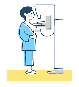 乳がん検査 マンモグラフィー ブルーのイラスト素材 [FYI02983391]