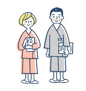 検査着を着た患者 ピンクのイラスト素材 [FYI02983393]