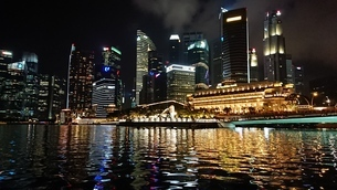 Night view in Singaporeの写真素材 [FYI02983680]