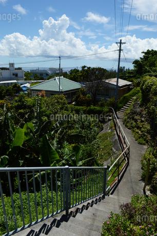 南国沖縄の古民家へ続く階段と坂道の写真素材 [FYI02983697]